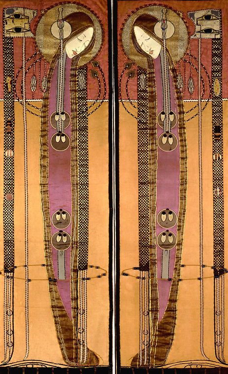 Margaret Macdonald Mackintosh  Embroidered panel​. A long artwork with copper and purple-pink areas. Two identical, stylized female figures curve their heads towards each other, making a tall arch shape.