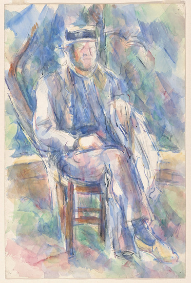 Man Wearing a Straw Hat. Date 1905/06  Medium: Watercolor over graphite on white wove paper Dimensions: 479 × 315 mm  Artist: Paul Cézanne French, 1839-1906