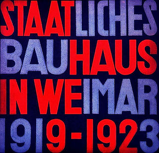 Bauhaus poster with bold blue and red text on a dark blue background