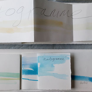 Strips of folded out watercolour paper with the text autogramme written on them with washes of blue and ochre watercolour paint.