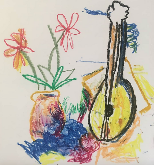 Pastel drawing of flowers in a vase next to a guitar in bright colours.
