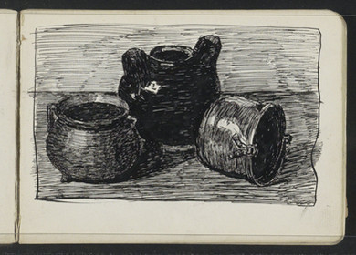 Stilleven met drie potten, Johanna van de Kamer, 1883 - 1922. Material: paper, ink Technique: pen Source: RijksMuseum, Public Domain