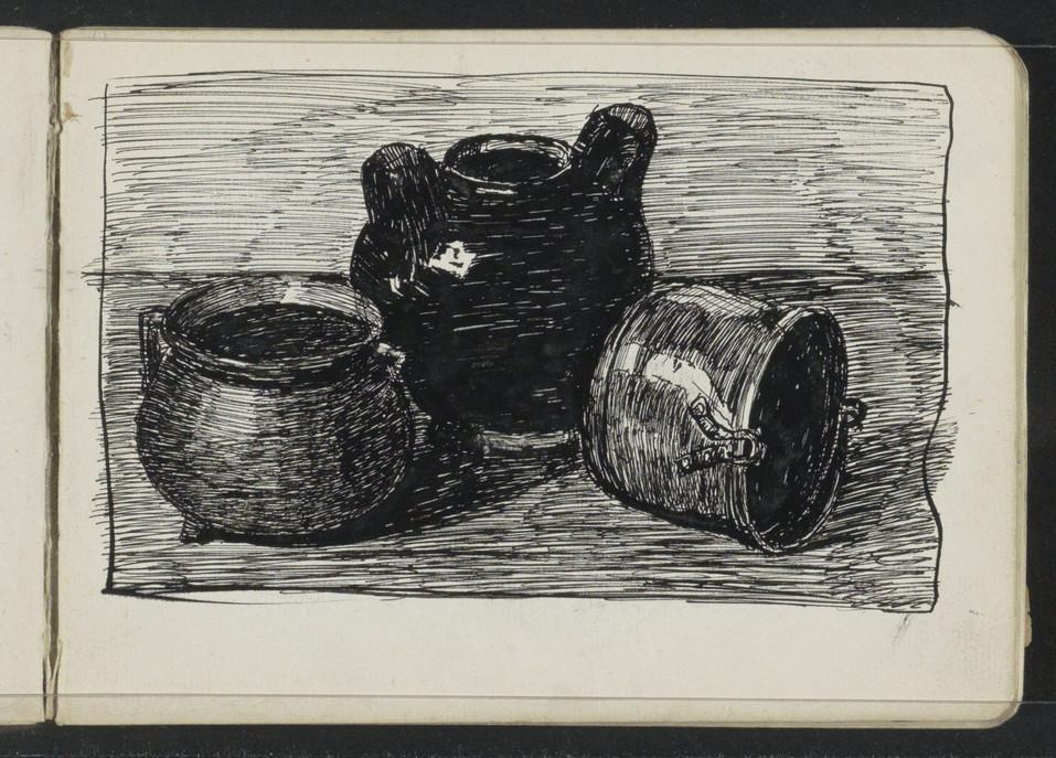 Stilleven met drie potten, Johanna van de Kamer, 1883 - 1922. Material: paper, ink Technique: pen Source: RijksMuseum, Public Domain