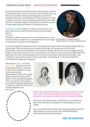 Drawing Ideas Sheet with text on Miniature Portraits and illustrative images.