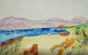 Image: Artwork by Myra Cox. Watercolour painting depicting pale mountains in the background, a body of water and sandy couloured grassy and rocky foreground.