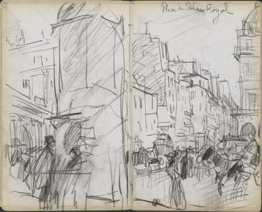 Place du Palais Royal, Parijs, Marius Bauer, 1891. Material: paper, chalk