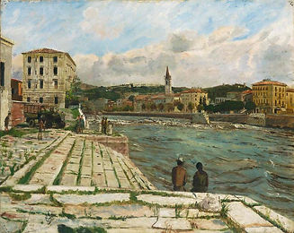 Image: Carel Weight,The Remains of Ponte Navi, Verona, 1945. A sunny day, two figures look out to the water and church-like building in the distance.