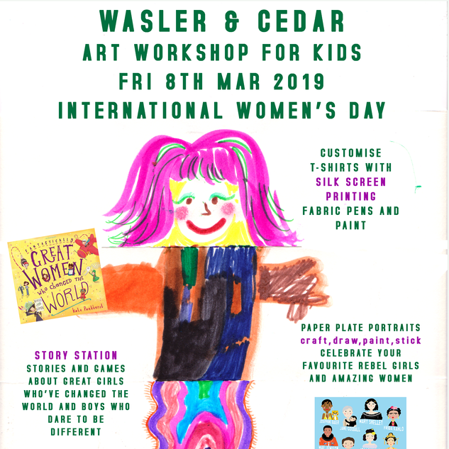 International Women's Day Children's workshop poster