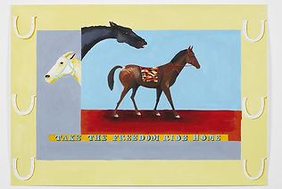 A painting depicting stylised horses, a lemon coloured border and the text TAKE THE FREEDOM RIDE HOME.