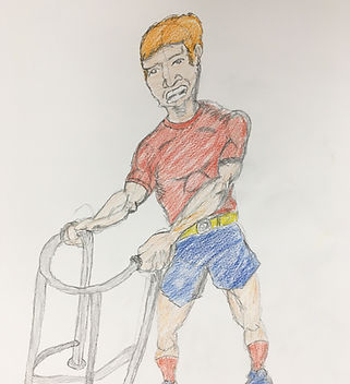 Drawing of man walking with a Zimmerframe by Cameron Fletcher