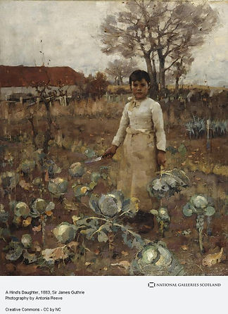 A Hind's Daughter by Sir James Guthrie. Oil painting of a girl working in a farm of cabbages, it looks autumnal, with a white sky.