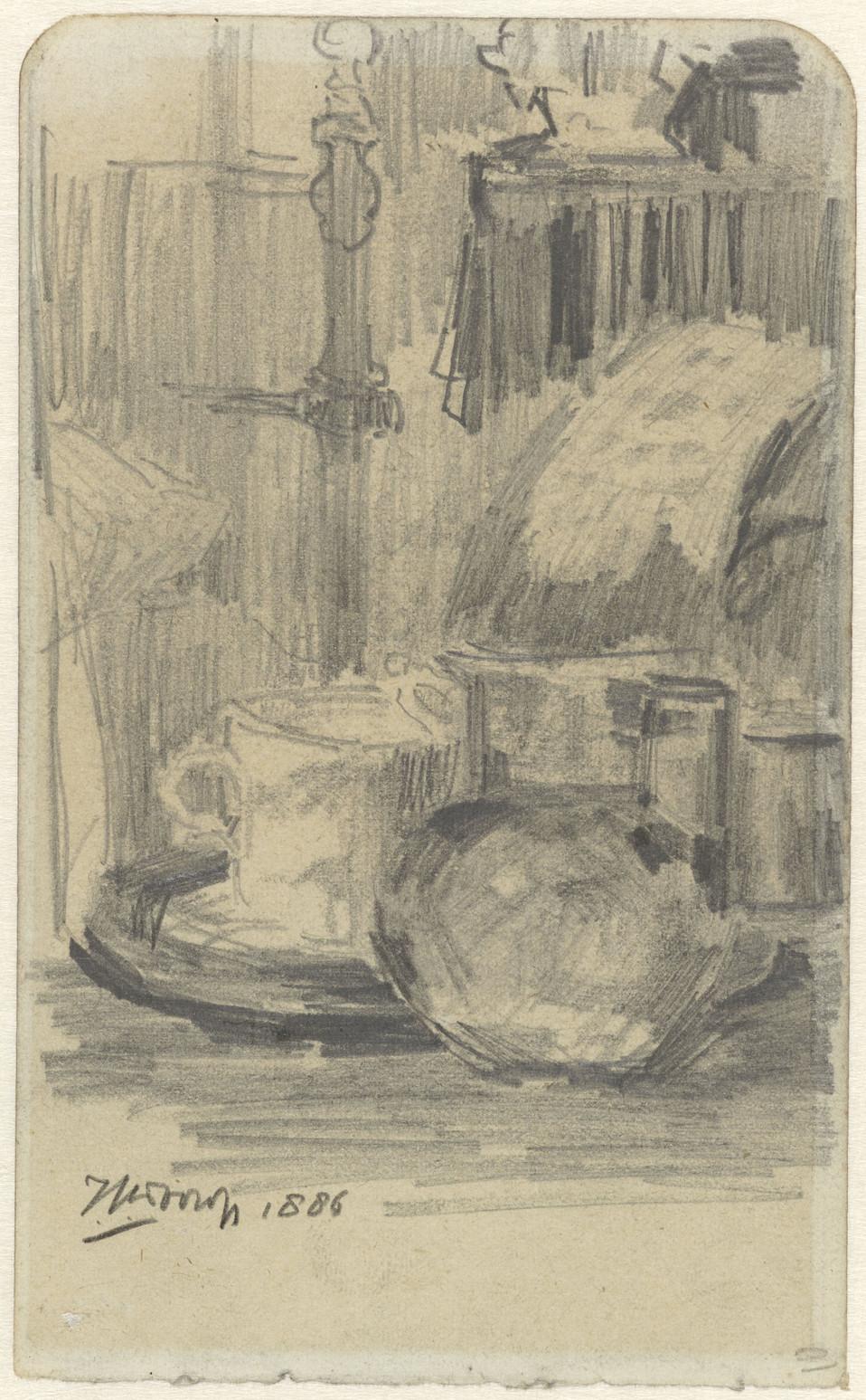 Jan Toorop, Stilleven met kan en kopje, 1886. paperpencil Measurementsh 157 mm × w 97 mm Source: Rijksmuseum, Public Domain