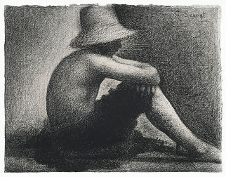 Tonal drawing of seated boy with a straw hat by Georges Seurat