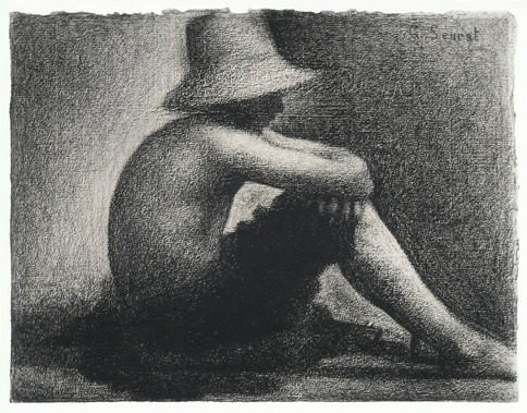Seated Boy with Straw Hat, study for Bathers at Asnières (ca. 1883–1884) by Georges Seurat.