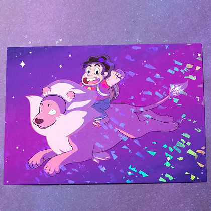 """5x7"""" Holo Print - Steve and His Lion"""