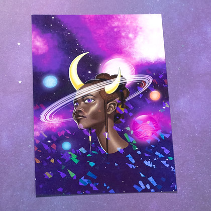 """5x7"""" Holo Print -Demoness of Planets"""
