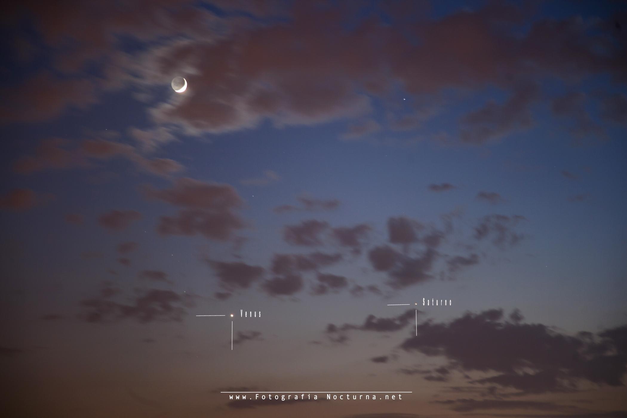 Conjunción Luna, Venus y Saturno