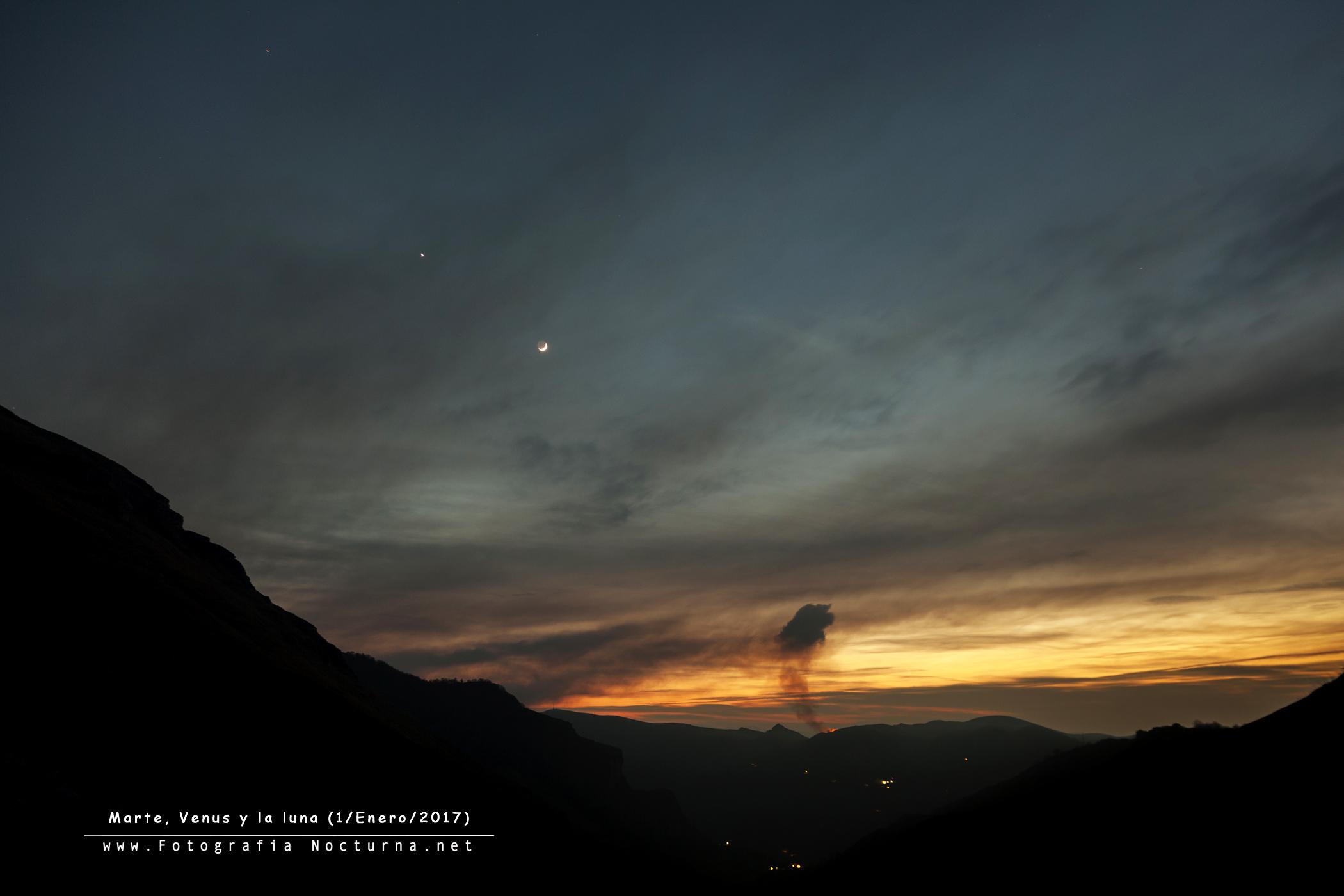 Conjunción Marte Venus y la Luna