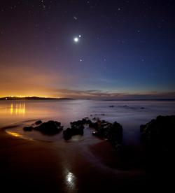 Conjunción Luna Júpiter y Venus