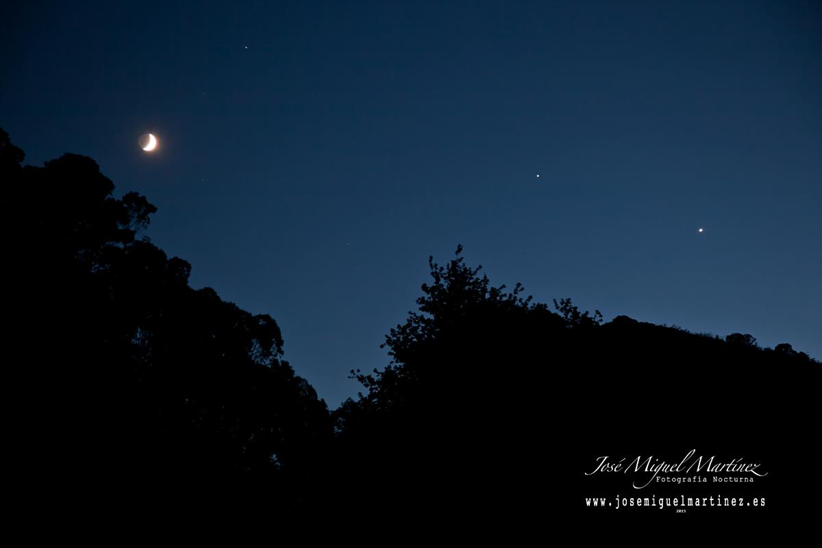 Conjuncion Luna Venus y Júpiter