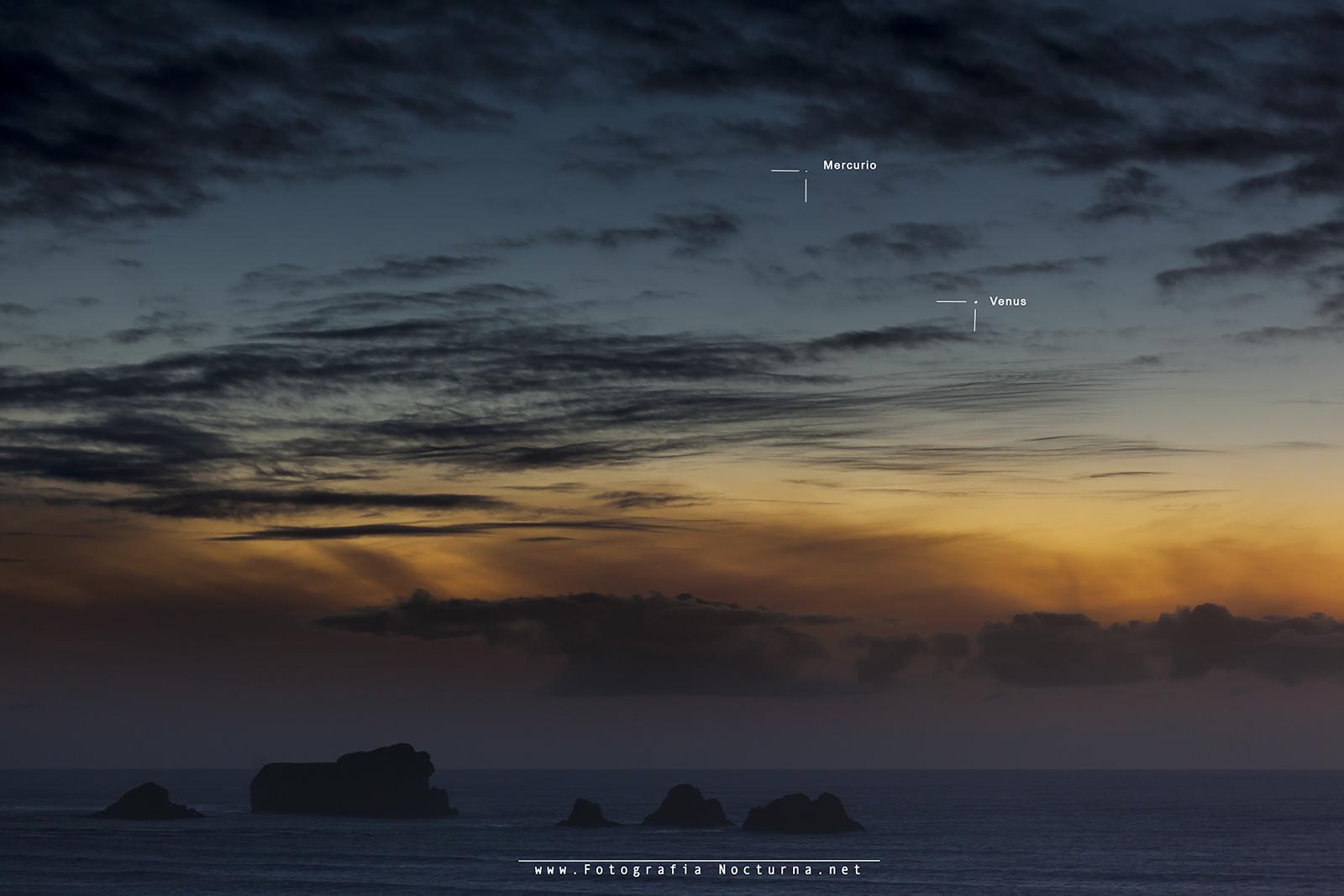 Conjunción Venus y Mercurio