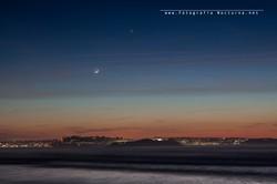 Conjunción Luna y Venus en hora azul