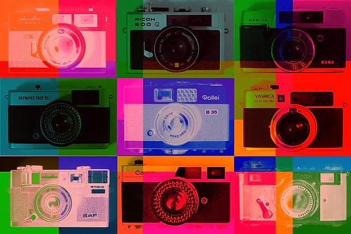9 Cameras Colour (Framed)