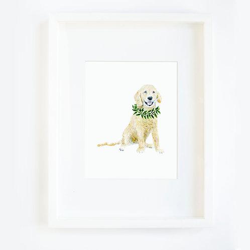 Dog Donning a Wreath