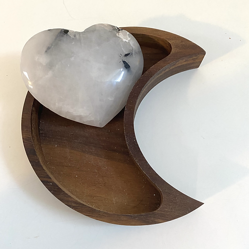 Tourmalinated Quartz Heart (approx 232 grams)