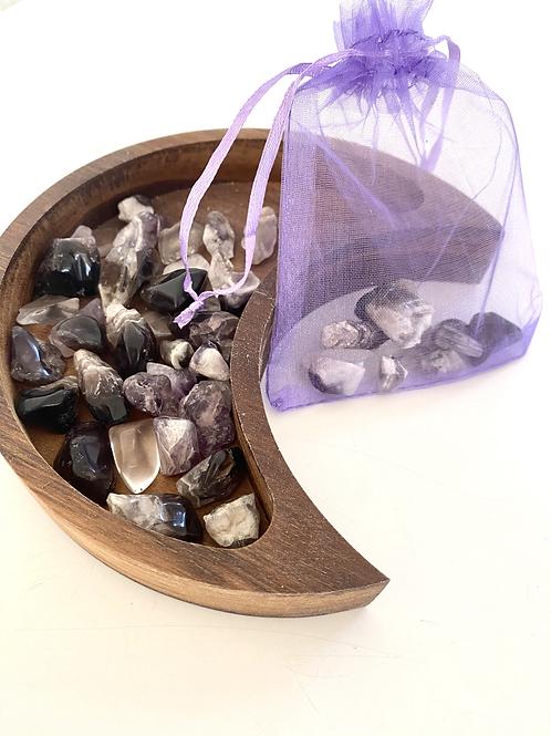 Small Tumbled Amethyst Fairy Bag