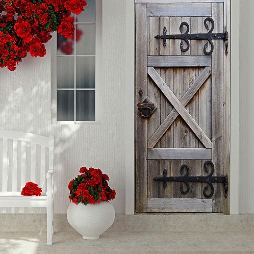 2Pcs/Set Old Wood Door Creative DIY 3D Door Stickers  for Wall Room