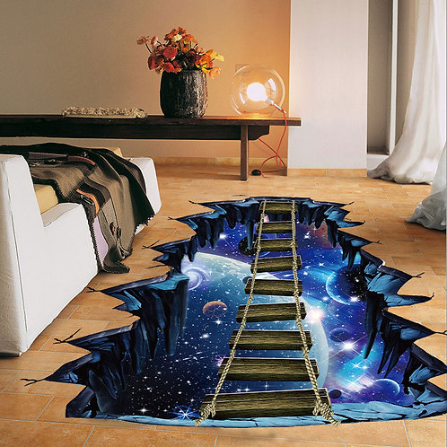 3d Cosmic Space Wall Sticker Galaxy Star Bridge  Floor