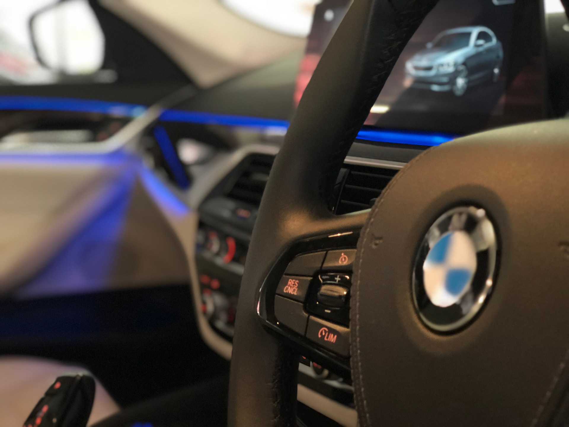 Steering wheel & bmw logo & ambient lighting detail.jpeg