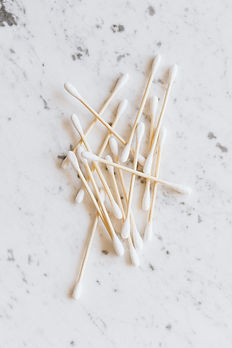 Bamboo Cotton Buds in a pile on Marble