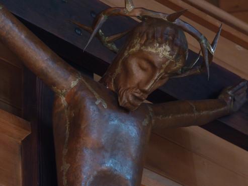 Beispiel für sichtbare Hartlötung: Kruzifix , Heilandskirche Dornbirn, 1931