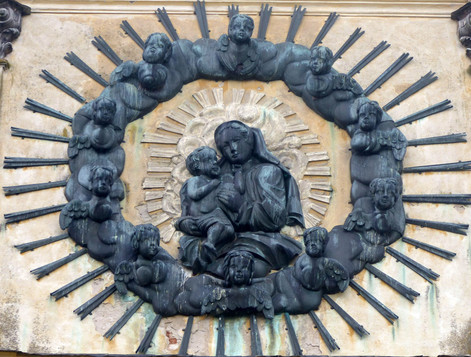 Madonna (1941), Kupfer getrieben (6 m), barocke Wallfahrtskirche Krossen (Krosno) bei Wormditt (Orneta), ersetzte marode, barocke Holzplastik, ist dieser in Form und Stil angepasst, erhalten