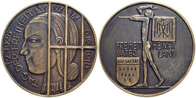 Tag der Freiheit (1926), Bronzemedaille zum Abzug der britischen Besatzung aus dem Rheinland am 1.2.1926