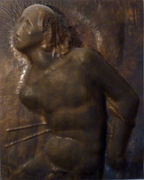 Sebastian (ca. 1947), Kupfer getrieben, 55 cm hoch