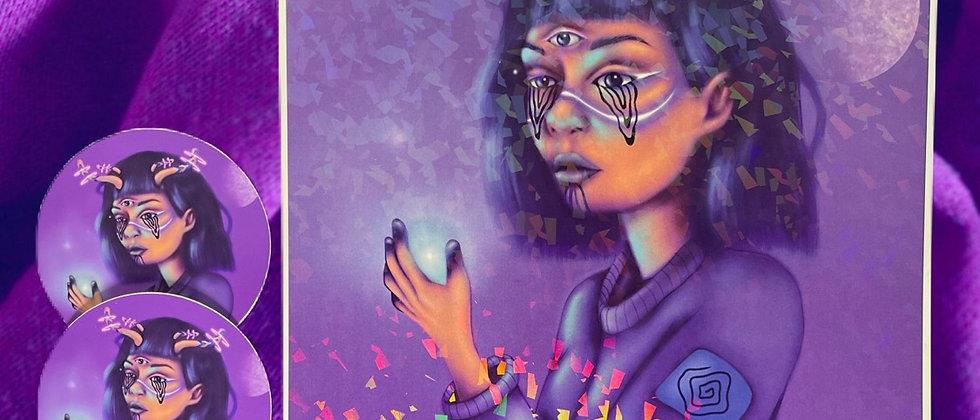 Lavender Holographic Print