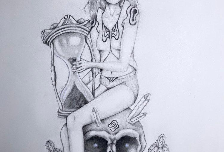 Goddess of Time & Fate Original Drawing
