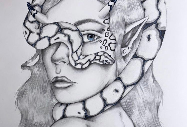 Snake Charmer Original Drawing