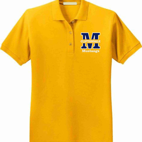 """Adult Gold Polo """"M"""" Logo"""