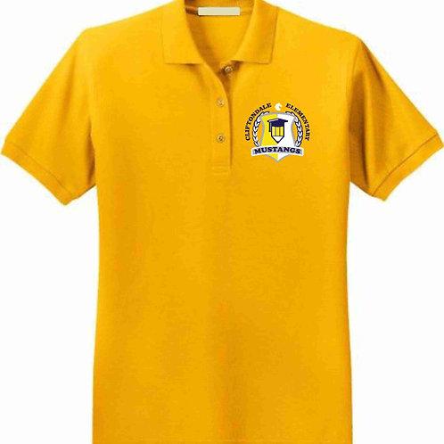 "Adult Gold Polo ""Pencil Shield"" Logo"