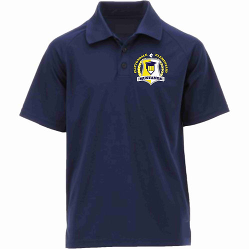 "Adult Navy Blue Polo ""Pencil Shield"" Logo"