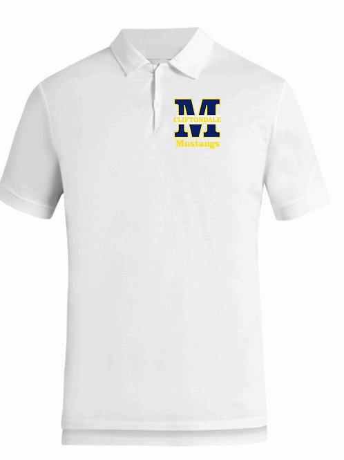 """Adult White Polo """"M"""" Logo"""