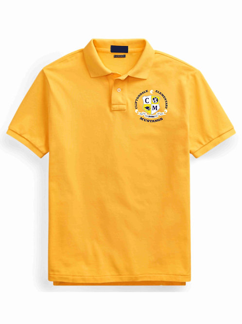 "Youth Gold Polo ""C/M Shield"" Logo"