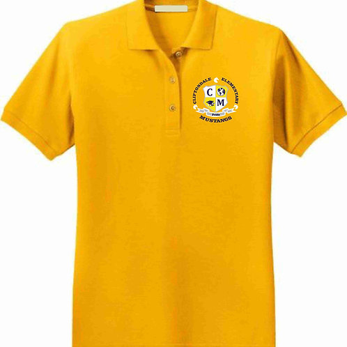 "Adult Gold Polo ""C/M Shield"" Logo"