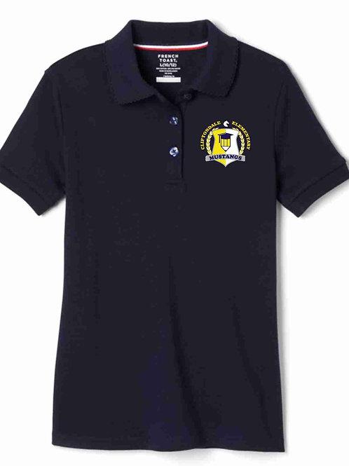 """Girls Navy Polo """"Pencil"""" Logo"""
