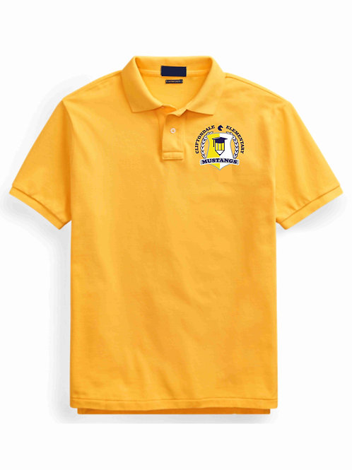 "Youth Gold Polo ""Pencil Shield""  Logo"