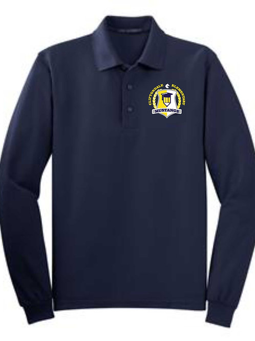 "Youth Navy Long Sleeve Polo ""Pencil"" logo"